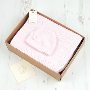 Baby Boys And Girls Blanket And Hat Gift Set - christening wear