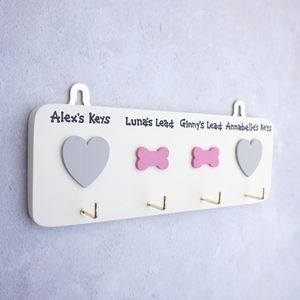 Personalised Key And Dog Lead Hanger/Holder