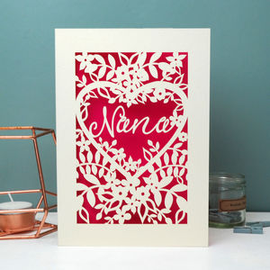Papercut Nan, Nana, Gran Or Granny Card - mother's day cards