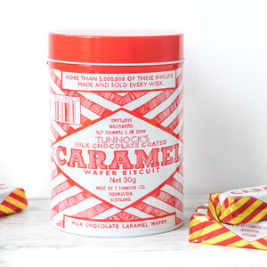 Retro Caramel Wafer Red Biscuit Tin - storage & organisers