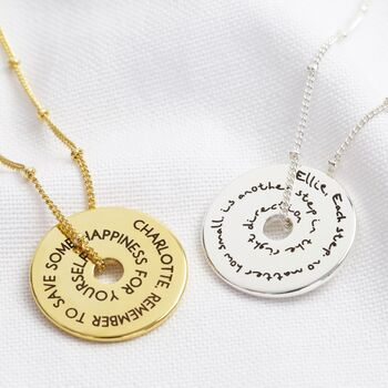 Personalised Message Of Affirmation Ring Necklace