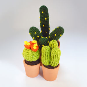 Crocheted Amigurumi Cactus Trio Medium And Small