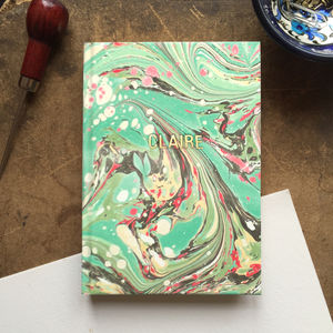 Personalised Hand Marbled Swirl Journal