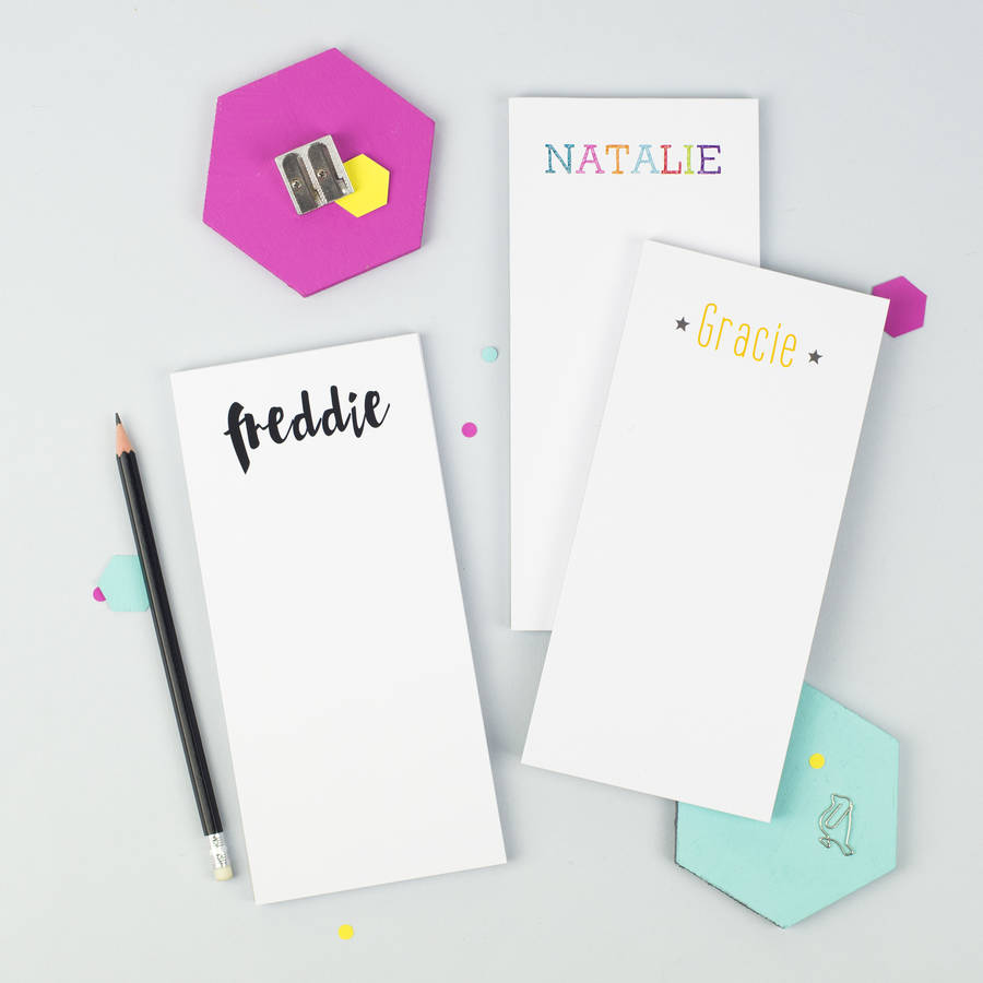Personalised Name To Do List Notepad