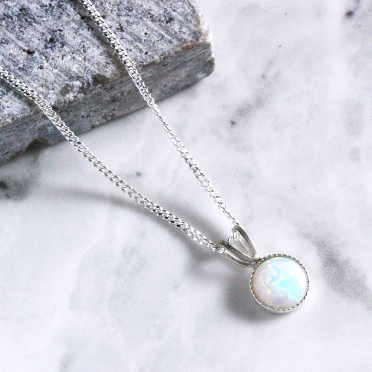 Kathia sterling silver opal necklace by aluna mae kathia sterling silver opal necklace aloadofball Images