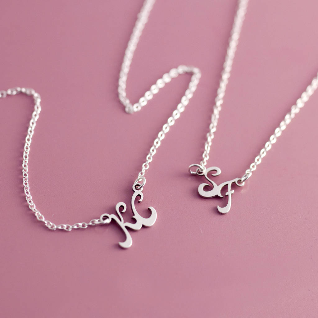 couples sterling silver initial necklace by j&s jewellery ...