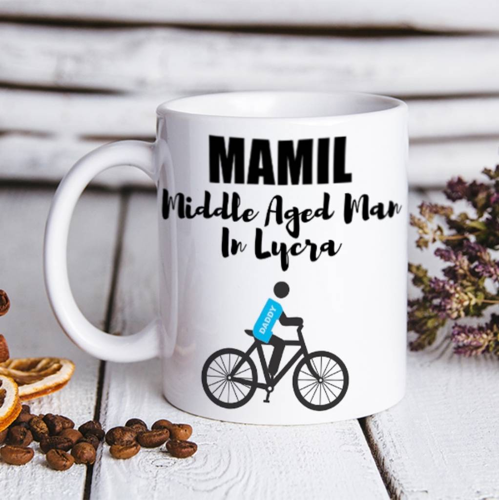 Personalised Mamil Cycle Mug For Dad