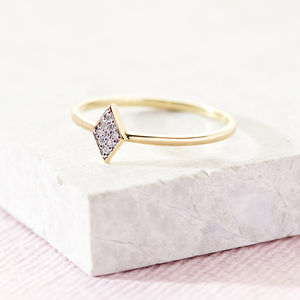 Pave Diamond Kite Stacking Ring - 60th anniversary: diamond