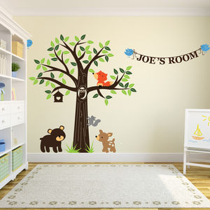 Personalised Woodland Friends Wall Stickers - baby & child sale