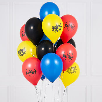 Pack Of 14 Superhero Boom Kapow Party Balloons