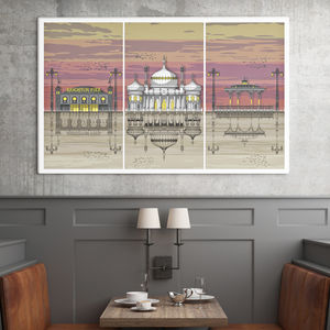 Brighton Triptych Sunset Architectural Print