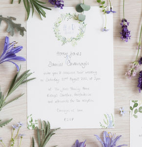 British Wildflower Watercolour Wedding Stationery Set - order of service & programs
