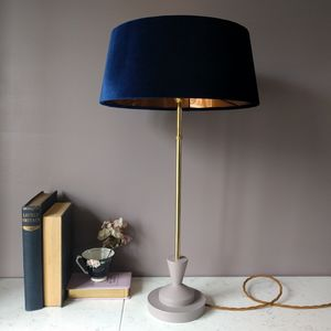 Navy Velvet And Copper Deco Lamp