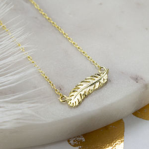 Gold Plated Sterling Silver Feather Necklace