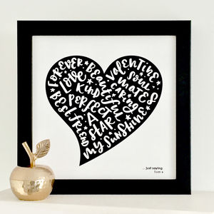 Personalised Speech Bubble Heart Valentine Print
