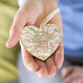 Personalised Map Heart Valentine Keepsake Gift For Her
