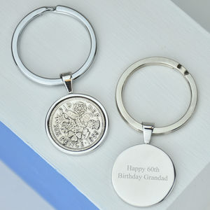 60th Birthday Sixpence Keyring - women's accessories