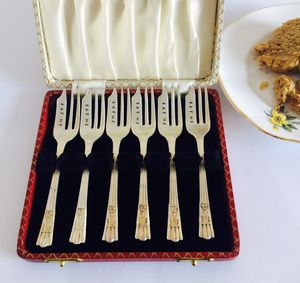 Boxed Set Of Six Silver Plated Vintage Cake Forks - tableware
