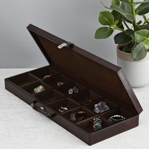 Personalised Leather Cufflink Case - cufflink boxes & coin trays
