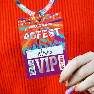 40 Fest 40th Birthday Party Vip Pass Lanyard Favours