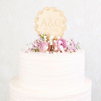 Floral Wooden Wedding Cake Topper Initials
