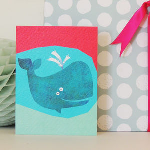 Blue Whale Mini Greetings Card