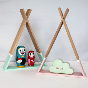 Wooden Teepee Style Shelf - baby's room