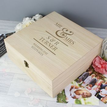 Personalised Mr And Mrs Wedding Wooden Keepsake Box
