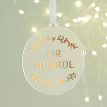 Husband Copper Christmas Decoration Personalised