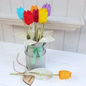 Cotton Spring Tulips In Churn Or Jug With Engraved Tag - home accessories