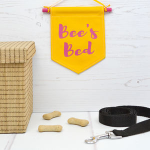 Personalised Pet Banner Flag Pink And Yellow - hanging decorations