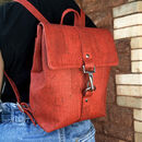 Sustainable Cork Small Backpack Red