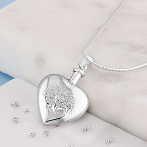 Ashes Tree Of Life Heart Shaped Urn Necklace - lockets