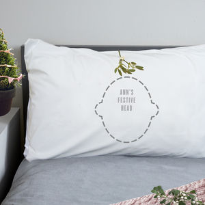Personalised Christmas Mistletoe Pillowcase Gift - bedding