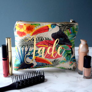 Personalised Tropical Print Make Up Bag - make-up & wash bags