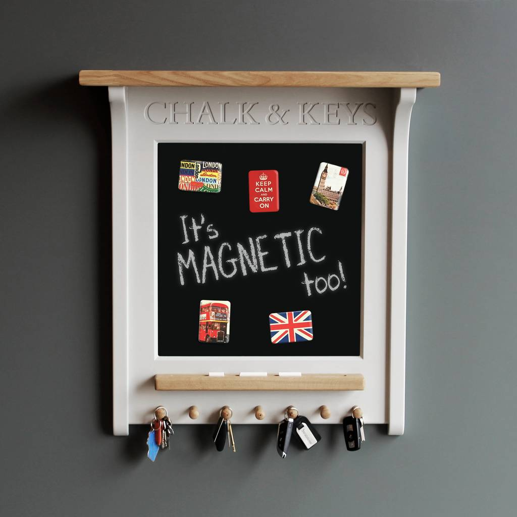 Chalk Board And Magnetic Noticeboard With Key Rack Kitchen