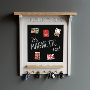 Chalk Board And Magnetic Noticeboard With Key Rack