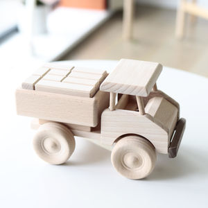 Wooden Truck Toy With Building Blocks Luxe Edition - push & pull along toys