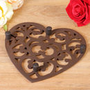Sixth Anniversary Cast Iron Traditional Heart Trivet