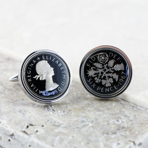 Sixpence 1967 50th Enamel Coin Cufflinks