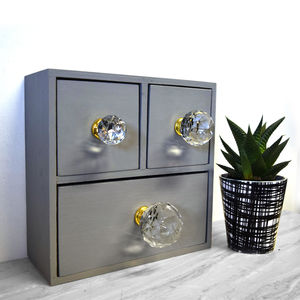 Clear Faceted Crystal Glass Cupboard Door Knob - more