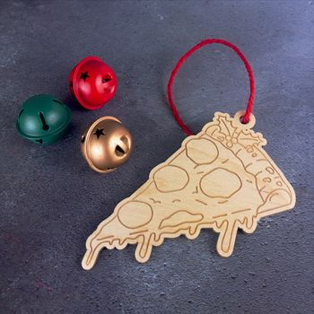 Pizza Wooden Christmas Tree Decoration