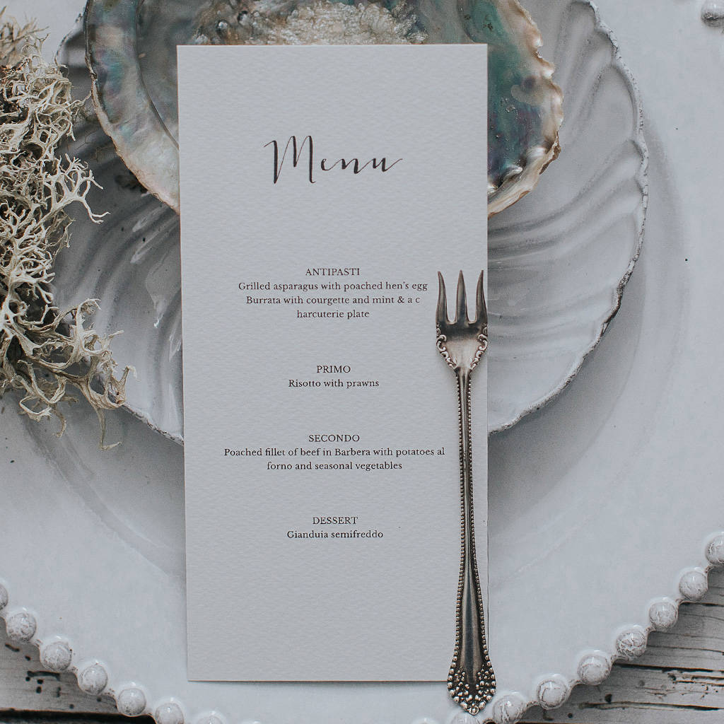 Calligraphy Style Menu Card