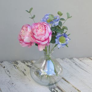 Artificial Flower Bouquet In Bowl Vase