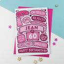 60th Omg Birthday Personalised Illustrated Card