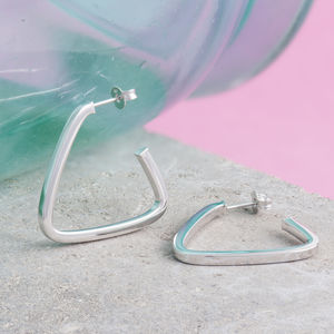 Triangle Hoop Earrings In Silver And Gold
