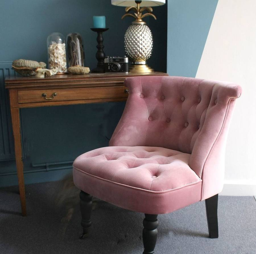 dusky pink velvet button back bedroom chair by ella james