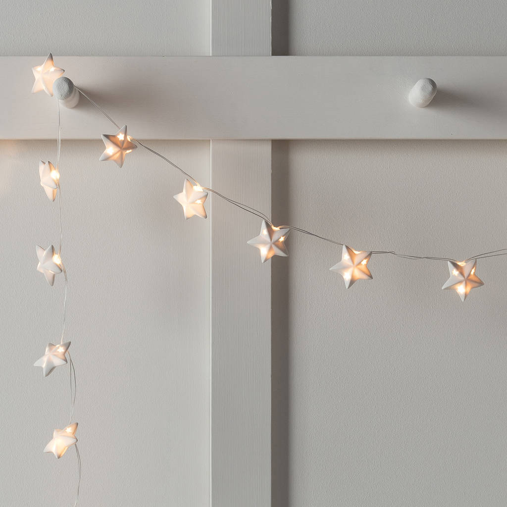 Ceramic Star Battery Fairy Lights By Lights4fun