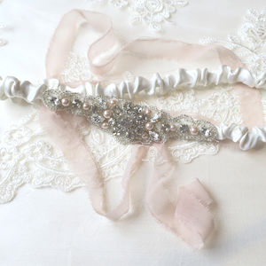Hettie Blush Pearl And Crystal Bridal Garter