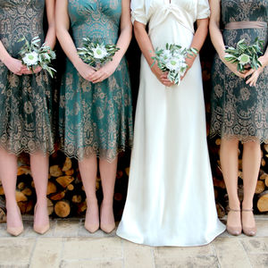 Bespoke Lace Bridesmaid Dresses In Green And Gold - bridesmaid dresses